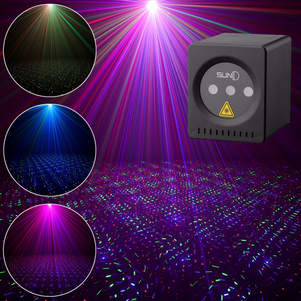 Mini Portable Laser RGB Star Patterns Cordless Laser Projector Rechargeable Stage Light Disco DJ Bar Club Party Xmas Laser Show