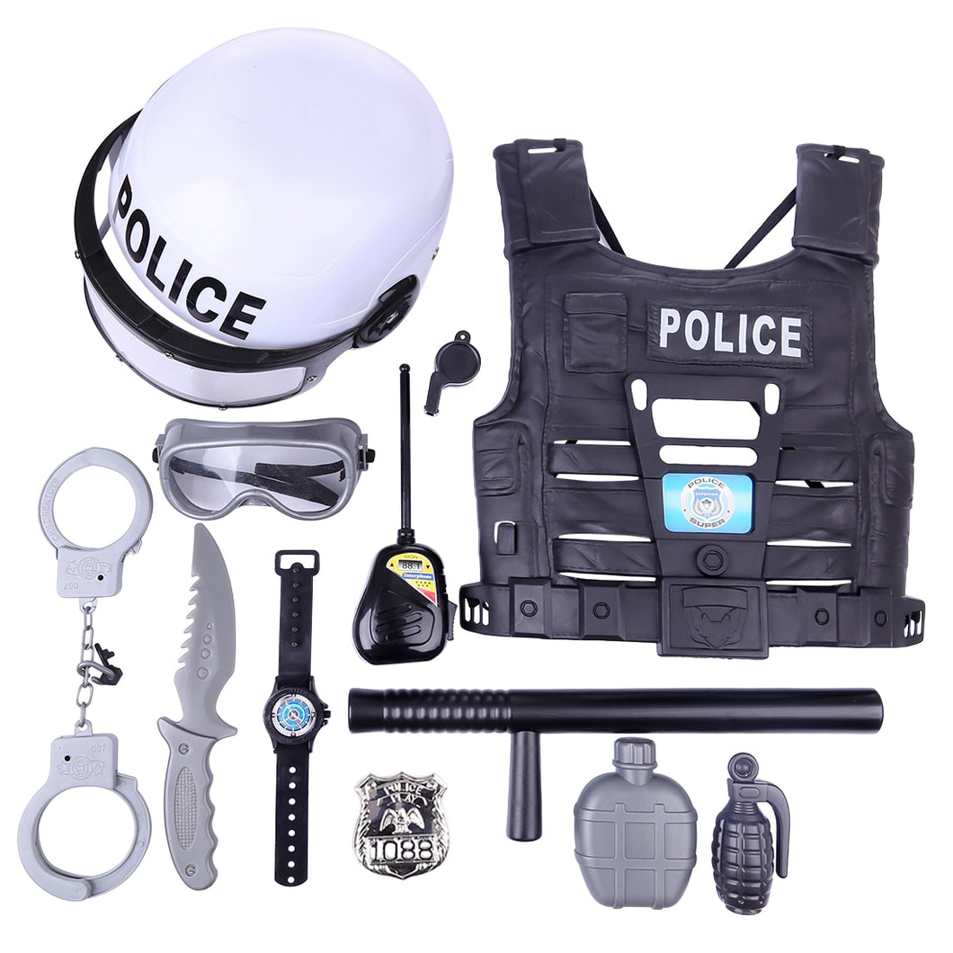 11Pcs Children Pretend Play Toys Simulation Policeman Role Play Kits for Boys Kids Playing Set
