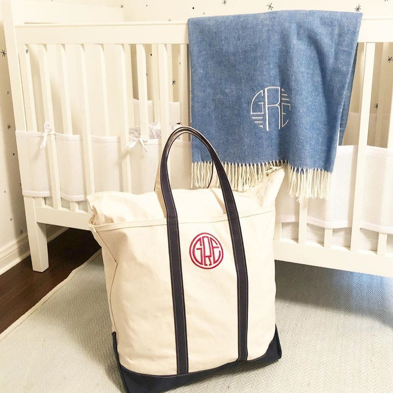 Jumbo Canvas Boat Tote - Monogrammed or Personalized