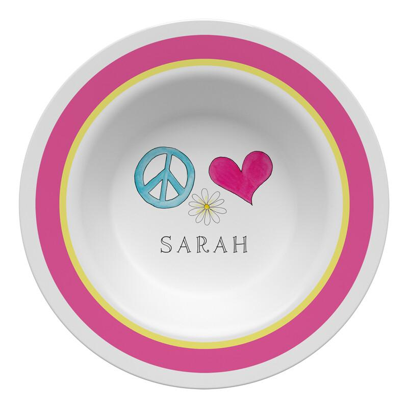 Peace Love Eat Tabletop Collection - Bowl - Personalized