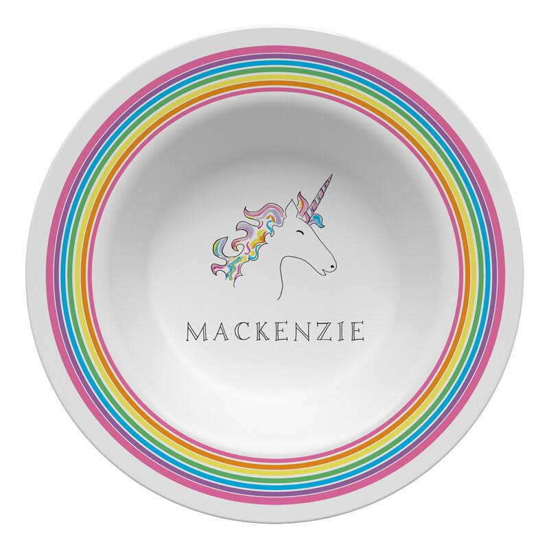 Over the Rainbow Unicorn Tabletop - Bowl - Personalized