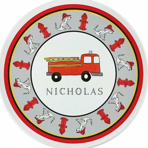 Firetruck Tabletop Collection - Plate - Personalized