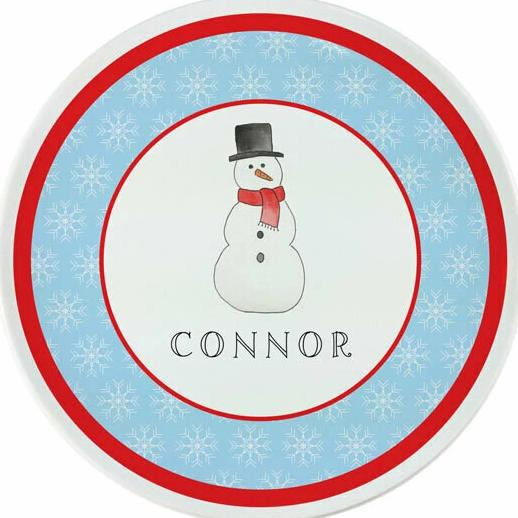 Frosty Snow Man Tabletop - Plate - Personalized