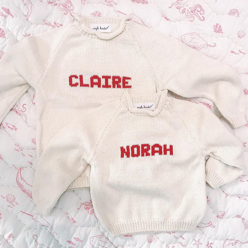 Hand Knit Rollneck Name Sweater - Personalized - White