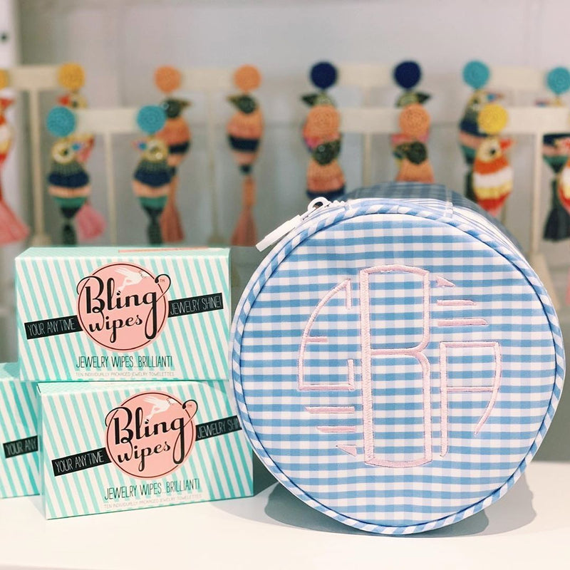 Monogrammed Gingham Jewelry Cases and Bling Wipes