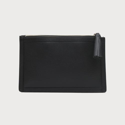 Double Zip Leather Crossbody Bag - Black