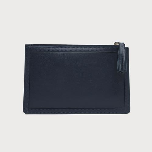 Double Zip Leather Crossbody Bag - Navy