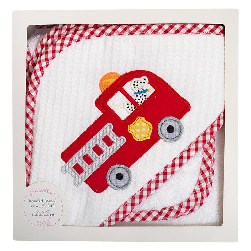 Applique Hooded Towel and Washcloth Set - Firetruck