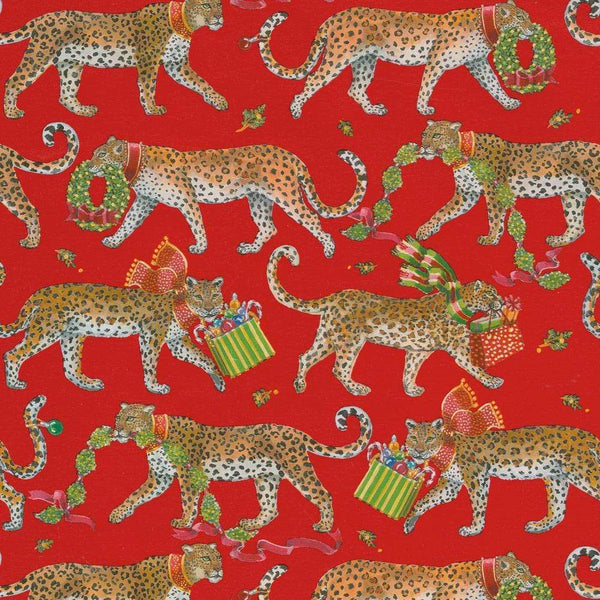 Red Christmas Leopard Wrapping Paper