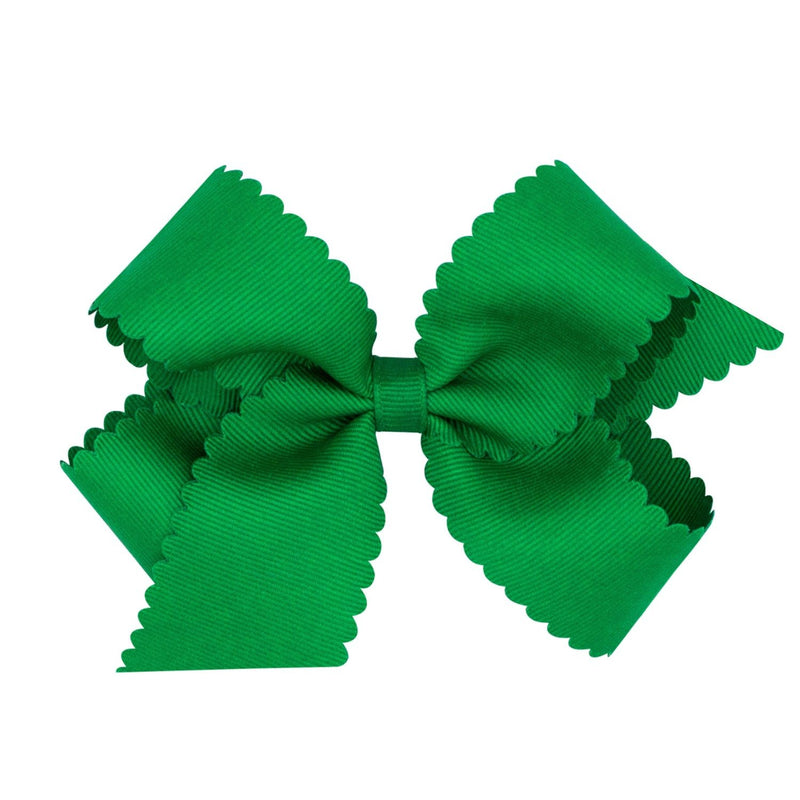 Scallop Grosgrain Hair Bow - Green - Monogram