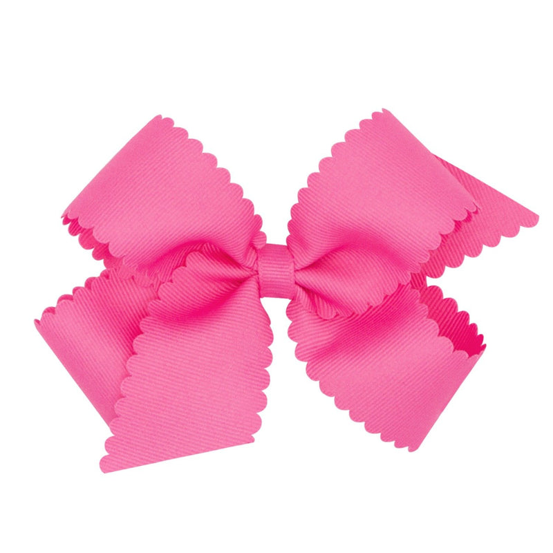 Scallop Grosgrain Hair Bow - Pink - Monogram