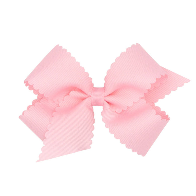 Scallop Grosgrain Hair Bow - Light Pink - Monogram