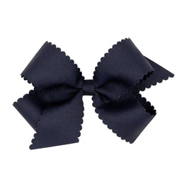 Scallop Grosgrain Hair Bow - Navy - Monogram