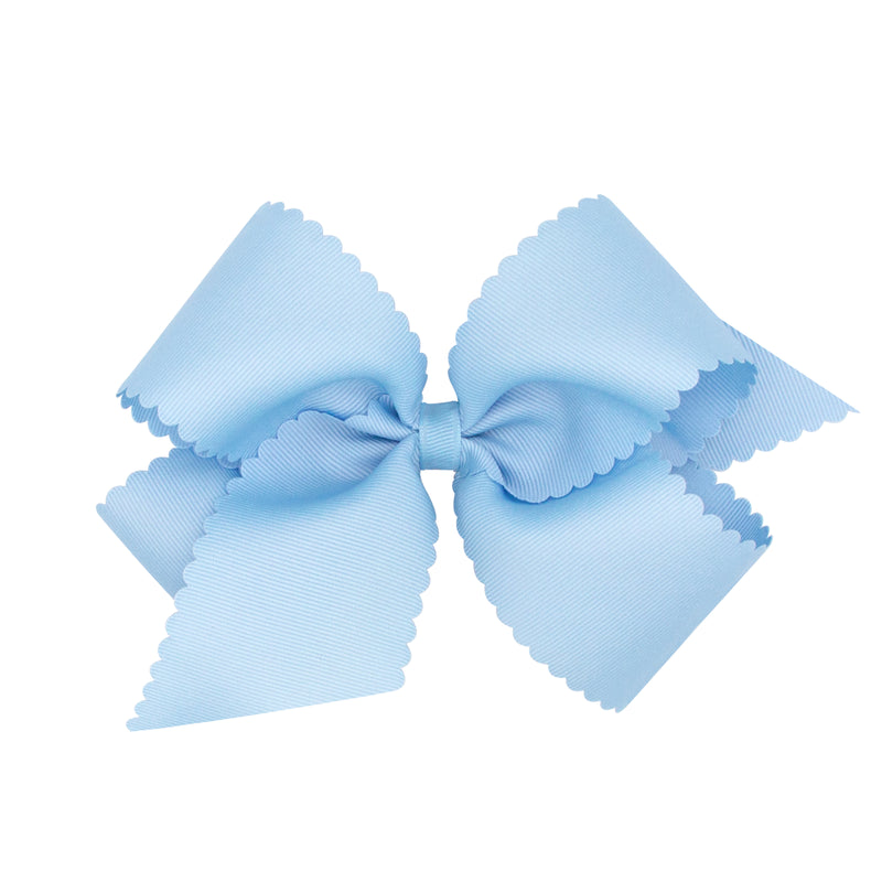 Scallop Grosgrain Bow - Light Blue