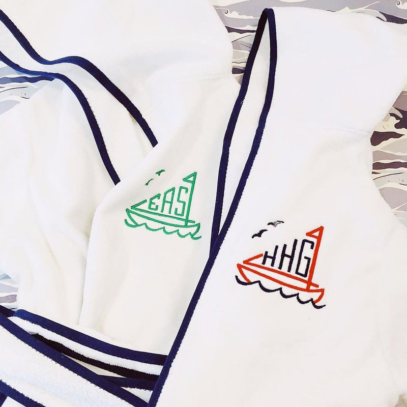 Children's Hooded Terry Cloth Monogrammed Bathrobe - Sailboat Shaped Monograms