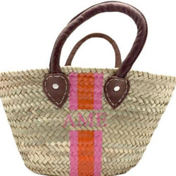 Abby Small Straw Tote with Monogram
