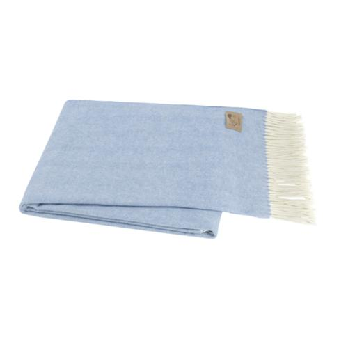 Monogrammed Herringbone Throw Blanket - Blue Denim