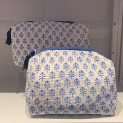 Block Print Toiletry Case Blue