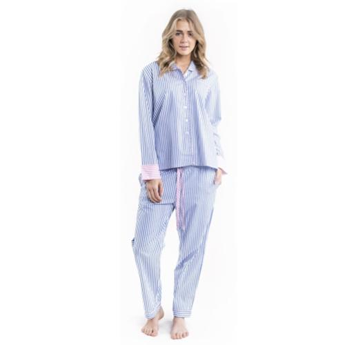 Blue Stripe Long Pajamas - add a monogram
