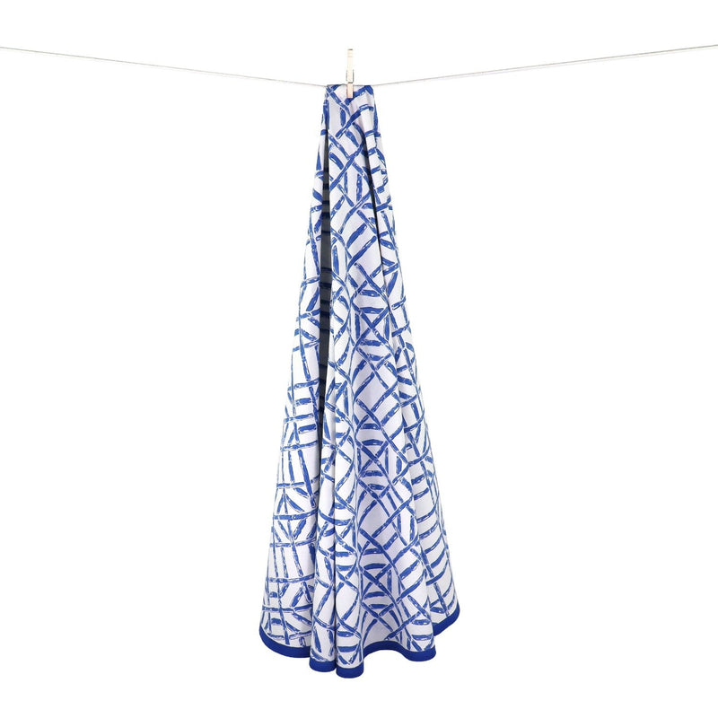 90-inch Round Bamboo Tablecloth - Blue