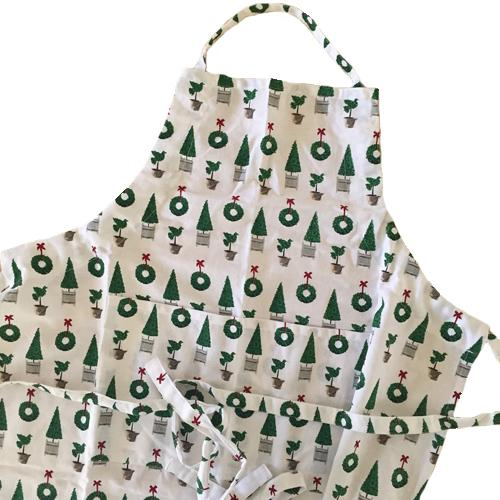 Christmas Topiary Apron - add a monogram