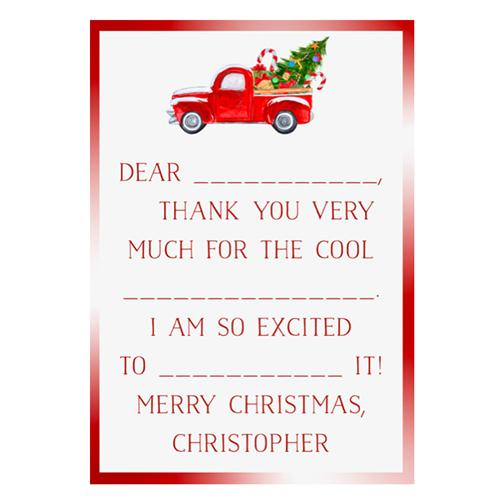 Holiday Fill in the Blank Thank You Cards - Truck