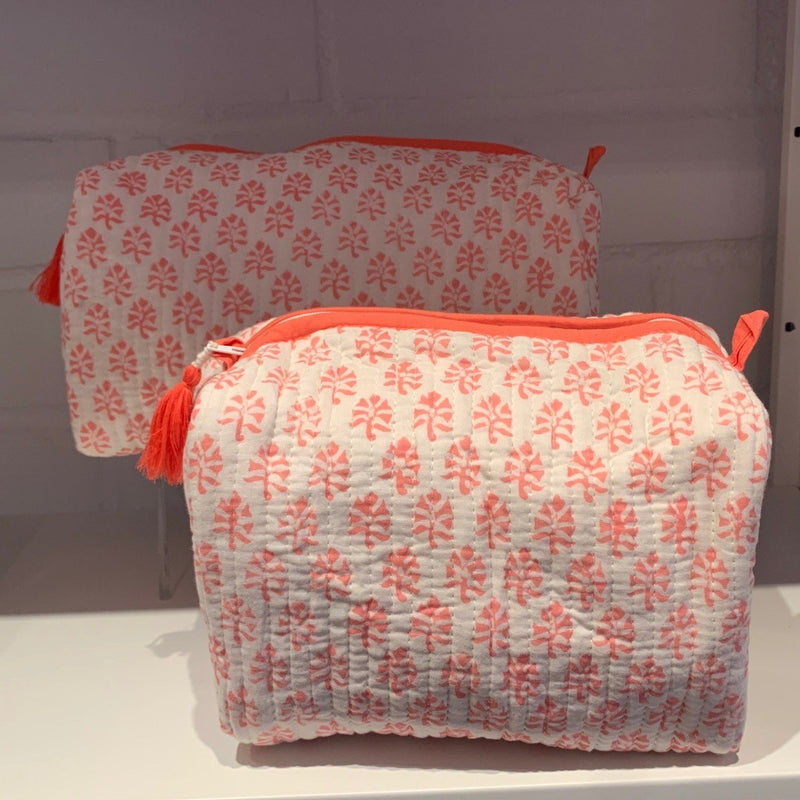Block Print Toiletry Case Coral