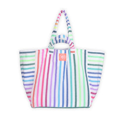 Double Handle Striped Beach Bag