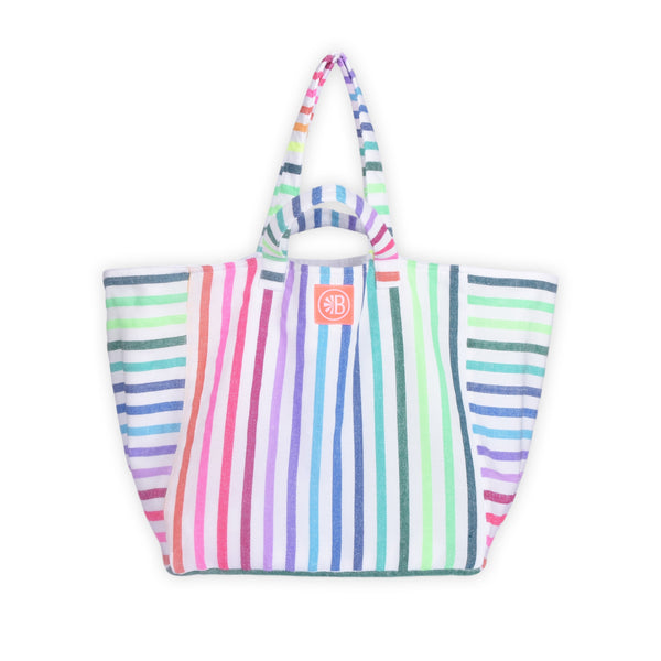 Double Handle Striped Beach Bag - Javier Rainbow