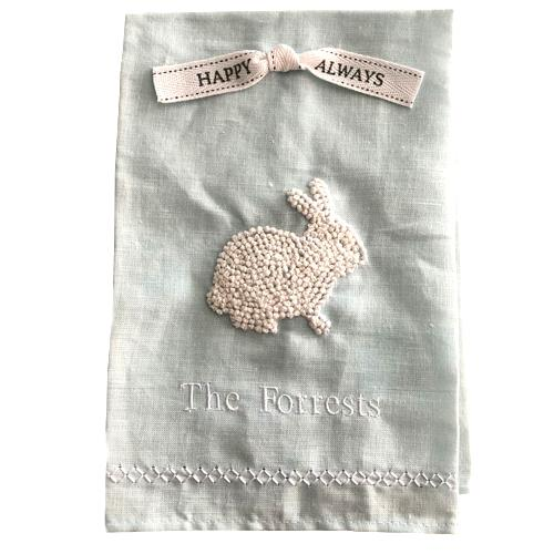 Personalized Easter Guest Towel with Bunny - Blue