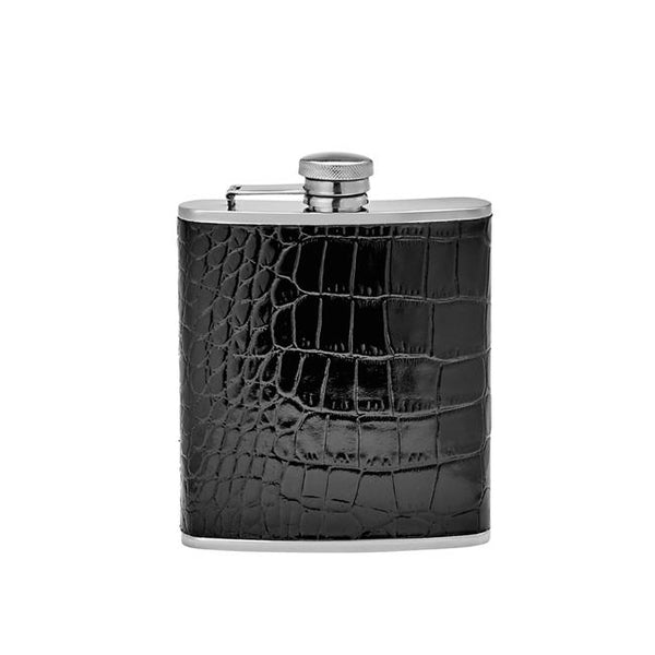 Leather Flask - Black Crocodile