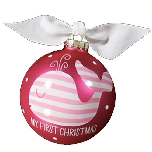 First Christmas Pink Whale Ornament