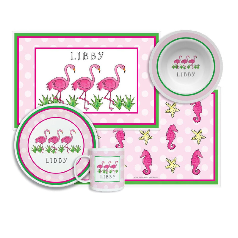 Flamingo Fun Tabletop - 4-piece Set - Personalized