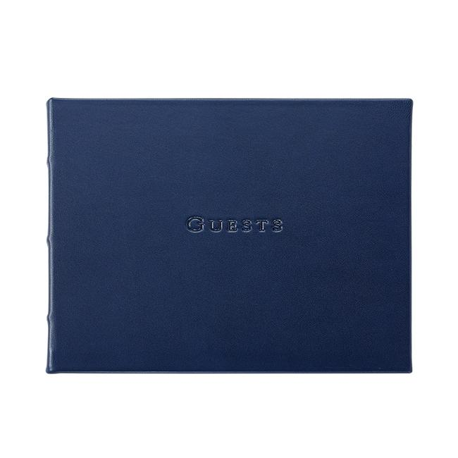 Leather Guest Book - Blue - Personalized