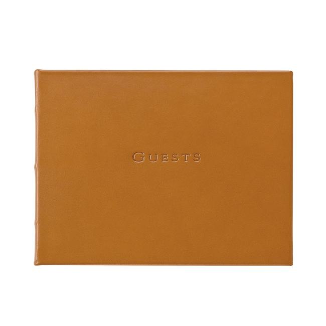 Leather Guest Book - Tan