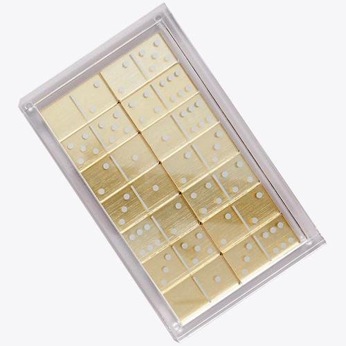 modern set of dominos in a lucite box - gold