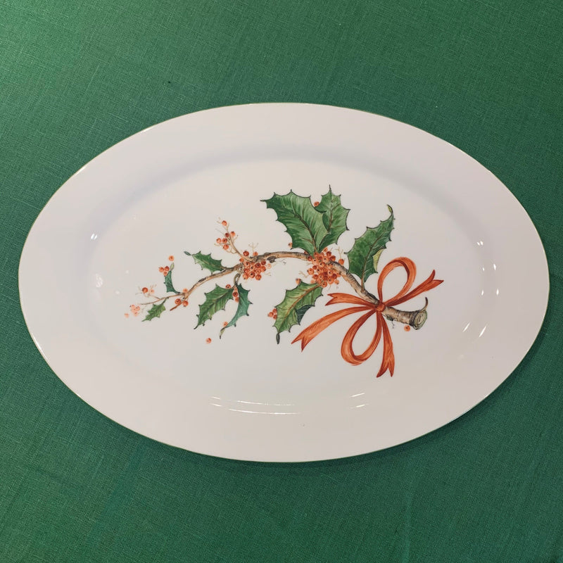 Christmas Holly Oval Platter