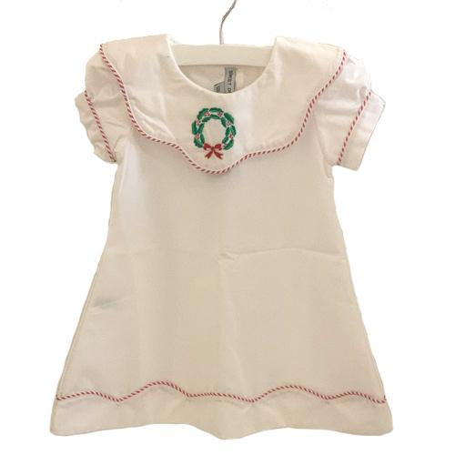 White Christmas Dress with Wreath - Can be Monogrammed