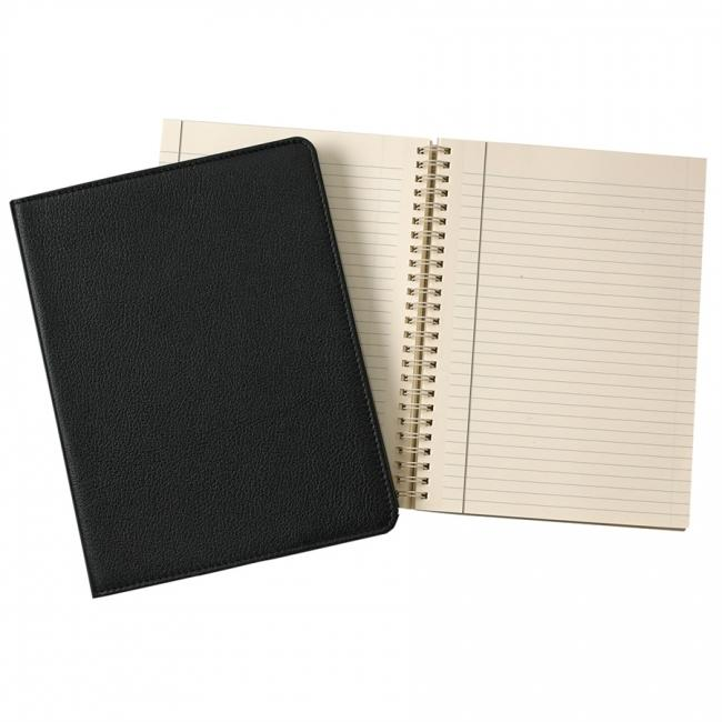9-inch Wire-O Notebook, Black Goatskin Leather