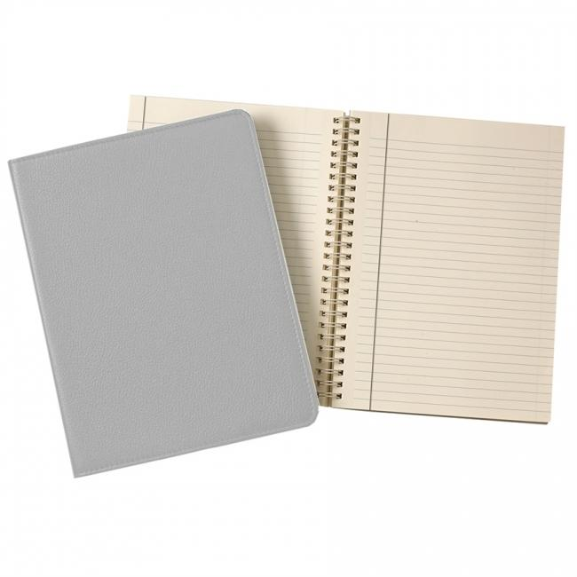 9-inch Wire-O Notebook, Gray Goatskin Leather