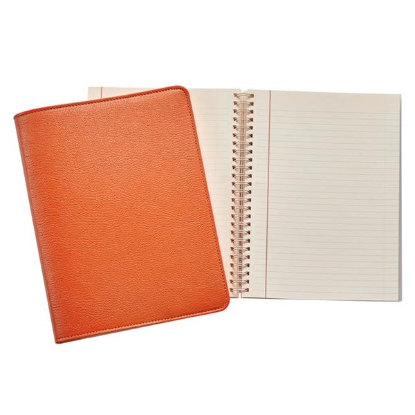 9-inch Wire-O Notebook, Orange Goatskin Leather