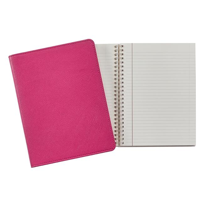 9-inch Wire-O Notebook, Pink Leather
