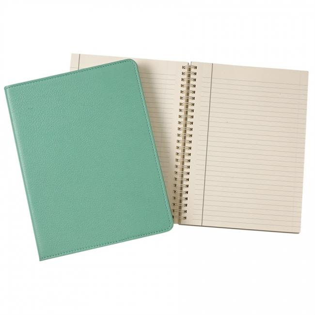 9-inch Wire-O Notebook, Robin's Egg Blue Goatskin Leather