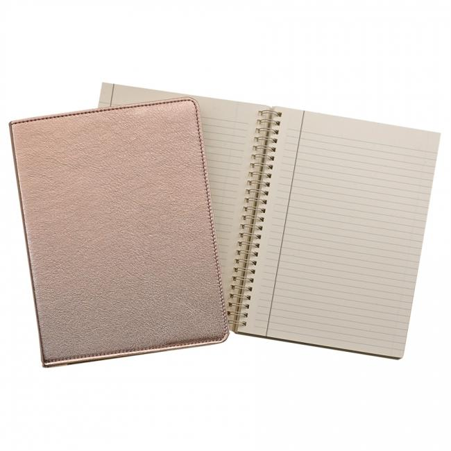 9-inch Wire-O Notebook, Rose Gold Metallic Leather