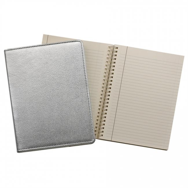 9-inch Wire-O Notebook, Silver Metallic Leather