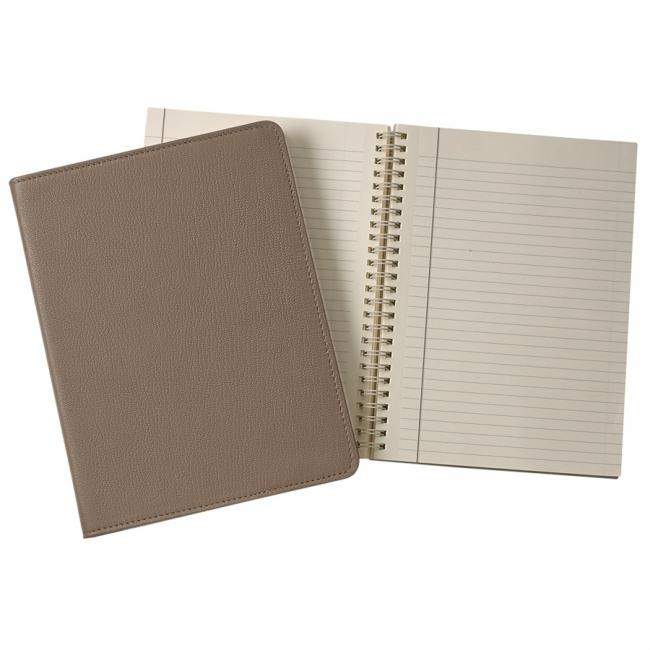 9-inch Wire-O Notebook, Taupe Goatskin Leather