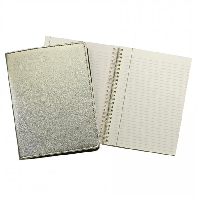 9-inch Wire-O Notebook, White Gold Metallic Leather