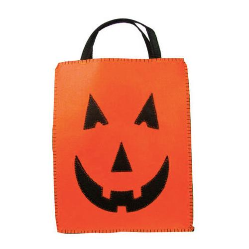 Personalized Trick or Treat Felt Bags - Jack o Lantern