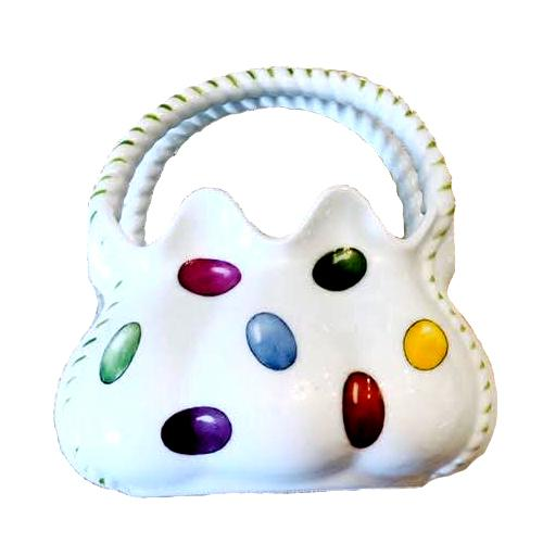 Hand painted porcelain Easter Egg basket