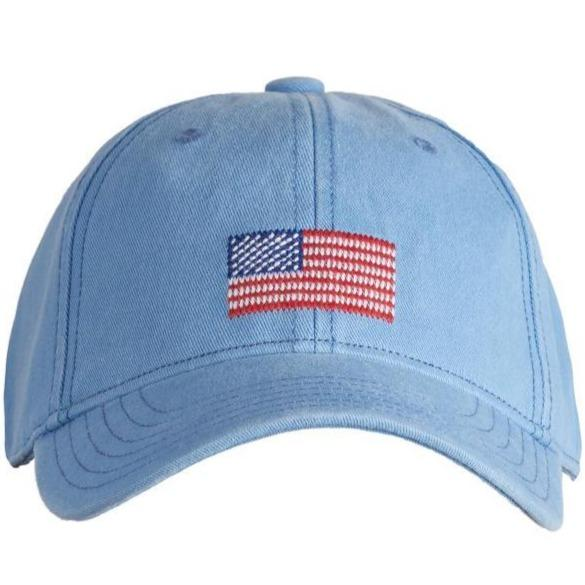 Kids Needlepoint Baseball Hat - American Flag - Blue